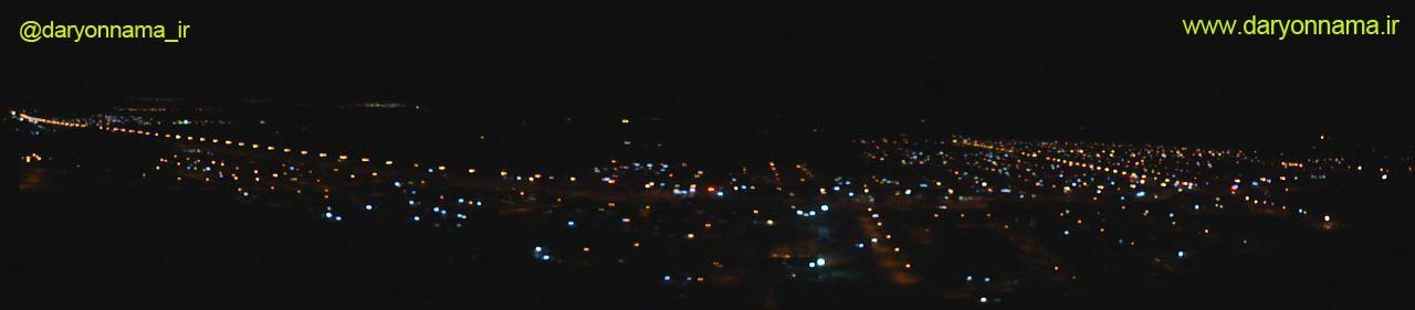 تصویر پانوراما از شب زیبای شهر داریون
