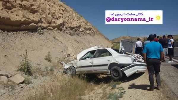 واژگونی خودرو پژو پارس در جاده شیراز – داریون+عکس