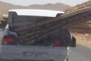 عکس:پرایدی که در جاده شیراز-داریون به چوب بسته شد!