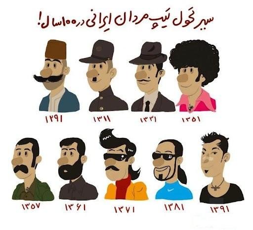 کاریکاتور مفهومی / سیر تحول تیپ مردان ایرانی در 100 سال اخیر