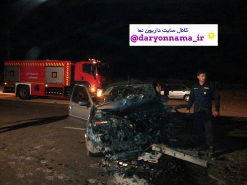 ۵ کشته و زخمی در تصادف جاده شیراز-داریون+تصاویر