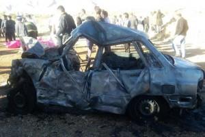 یک پیشنهاد/ماشین های سوخته تصادف شدید جاده داریون را نماد عبرت کنید